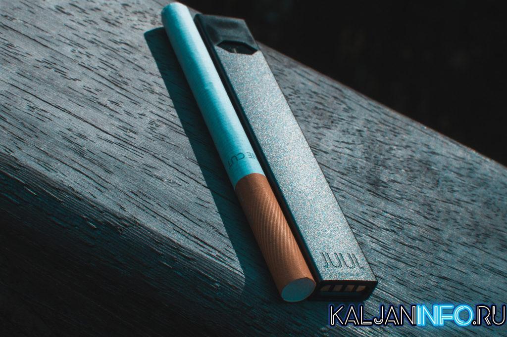 Juul и сигарета.
