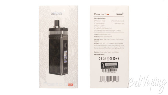 Упаковка от Smoant Pasito 2 pod kit.